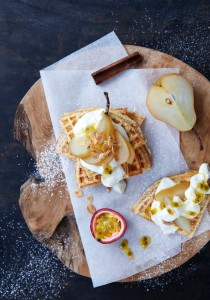 Image for 'Poached pear and granadilla waffle'